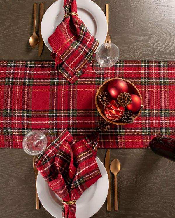 Holiday Metallic Plaid Table Runner 14x72