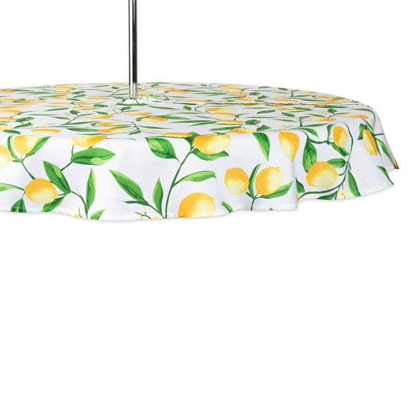 Lemon Bliss Print Outdoor Tablecloth With Zipper 60 Round