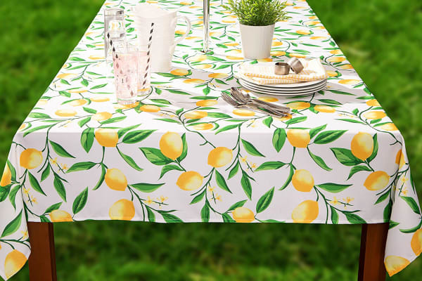 Lemon Bliss Print Outdoor Tablecloth With Zipper 60x120
