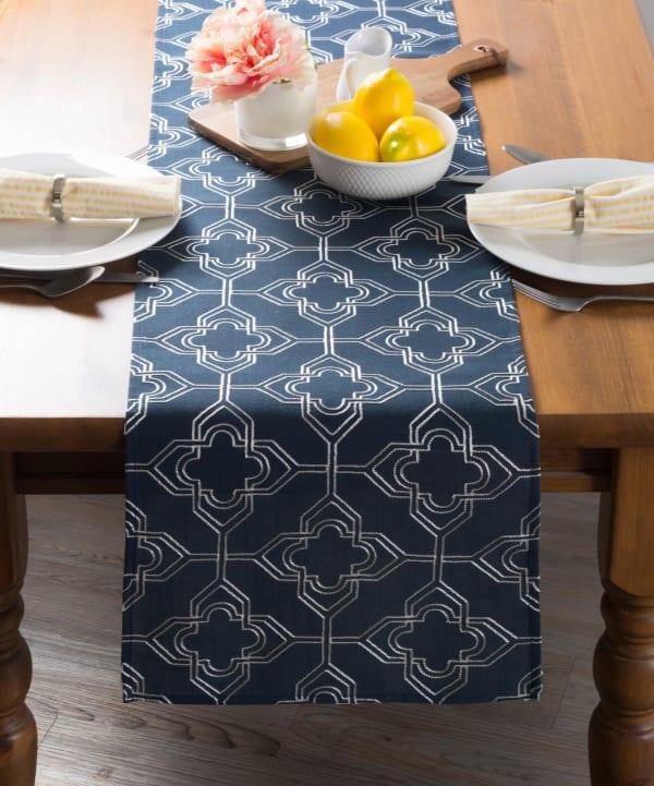 Navy Base Embroidered Lattice Table Runner