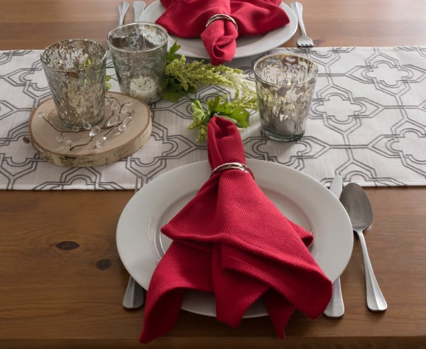 Off White Embroidered Lattice Table Runner 14