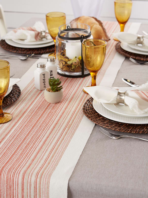 Pimento Striped Fringed Table Runner 14x108