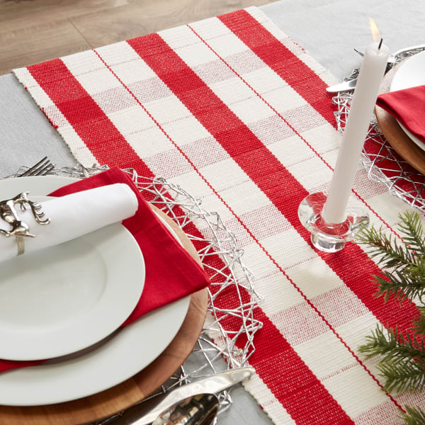 Red Tinsel Plaid Fringed Table Runner 13x72