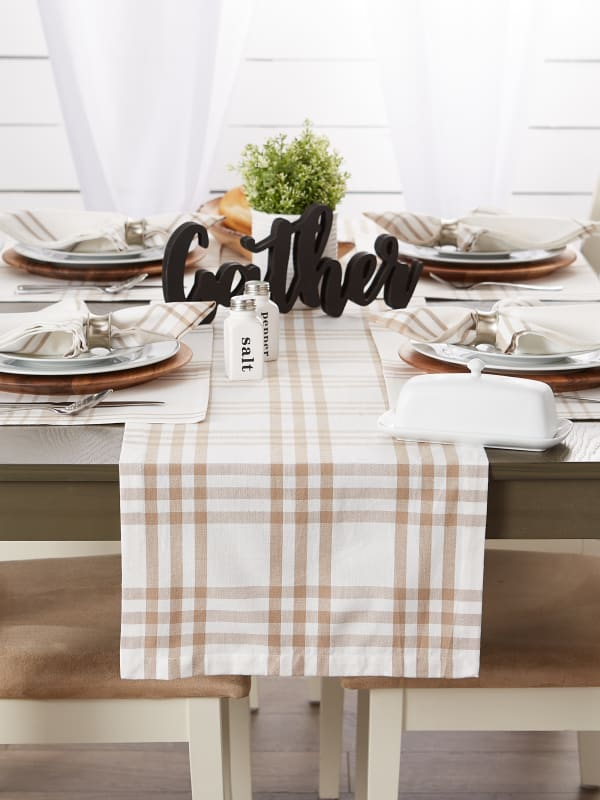 Stone Farm To Table Check Table Runner 14x108