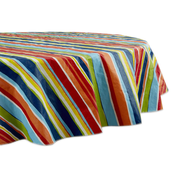Summer Stripe Vinyl Tablecloth 70