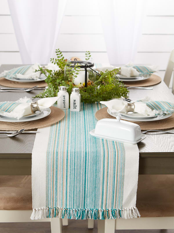 Teal Blue Striped Fringed Table Runner 14x108