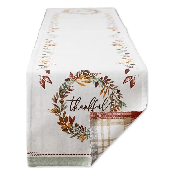 Thanksgiving Thankful Autum, Fall Leaves, Reversable Table Runner 14x72