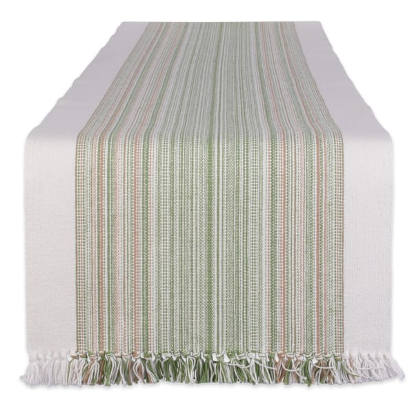Thyme Striped Fringed Table Runner 14x108