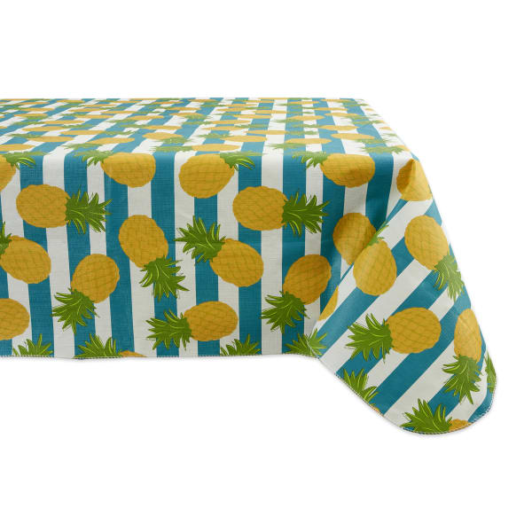 Pineapple & Turquoise Stripe Vinyl Tablecloth 60x84