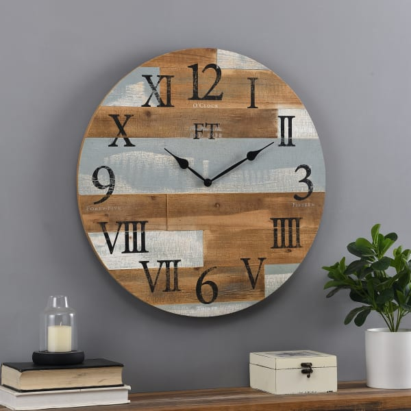 Blue Rustic Farmhouse Barn Wood Clock