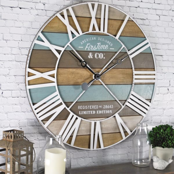 Maritime Farmhouse Planks Wall Clock