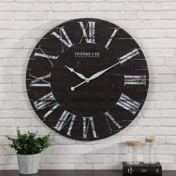Midnight Farmhouse Planks Wall Clock