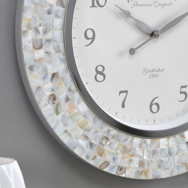 Ivory Pearl Mosaic Clock