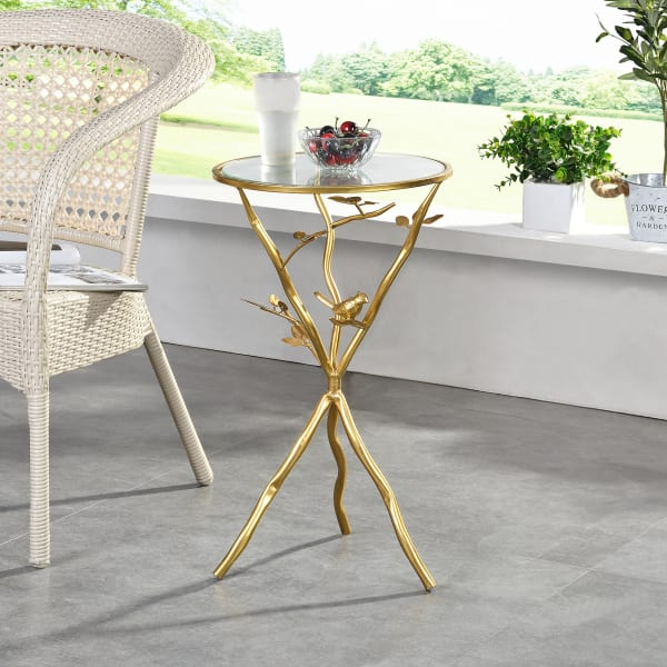 Gold Bird and Branches Outdoor Tripod Table