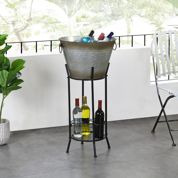 Homestead Farmhouse and Wine Rack Outdoor Beverage Tub