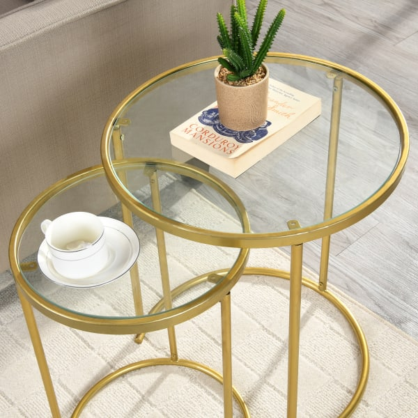 Gold Nesting End Table 2-Piece Set