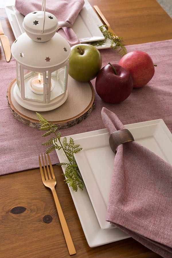 Barn Red Solid Chambray Table Runner 14x108