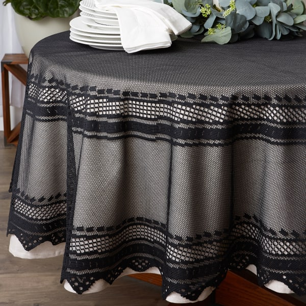 Black Nordic Lace Tablecloth 70 Round
