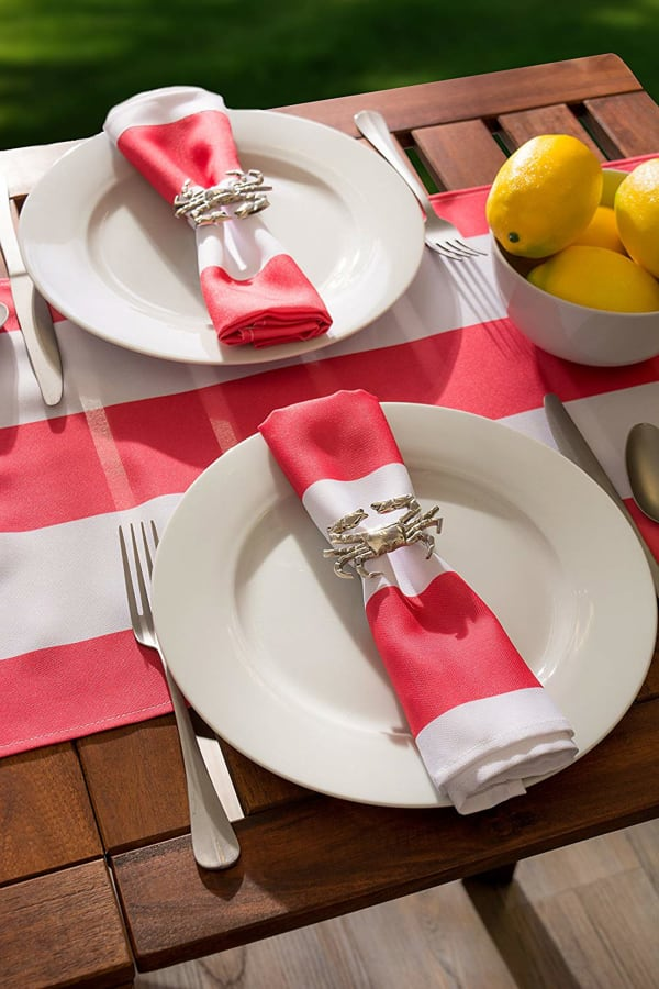Coral Cabana Stripe Outdoor Table Runner With Zipper 14x108