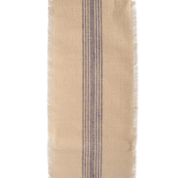 French Blue Middle Stripe Burlap Table Runner 14x72