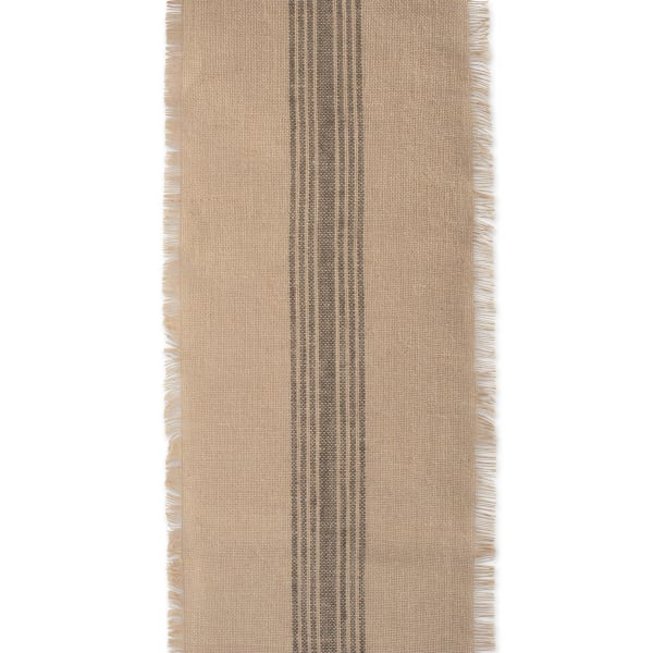 Mineral Middle Stripe Burlap Table Runner 14x108