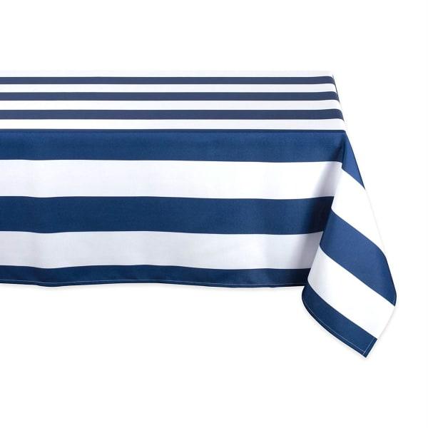 Nautical Blue Cabana Stripe Outdoor Tablecloth 60x120