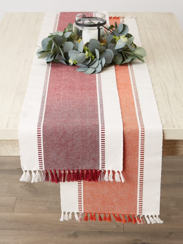 Redwood Striped Fringe Ribbed Table Runner 13X72
