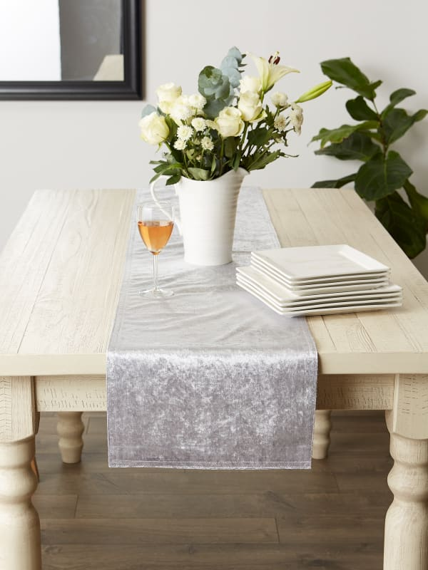 Silver Velvet Table Runner