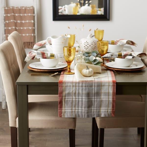 Thanksgiving Cozy Picnic, Plaid Table Runner 14x72