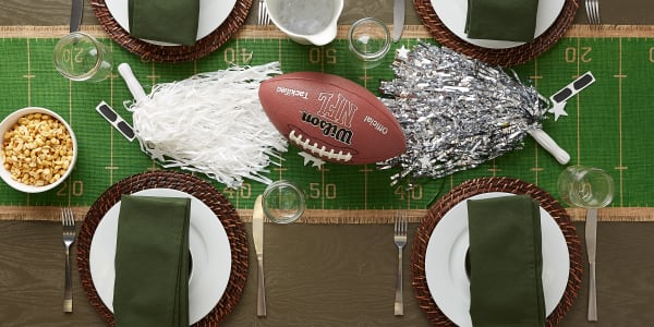 Touchdown Print Jute Table Runner 14X74