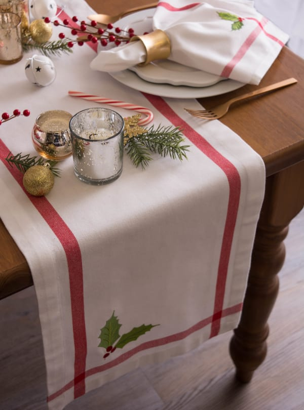 White Embroidered Holly Corner With Border Table Runner 14x72