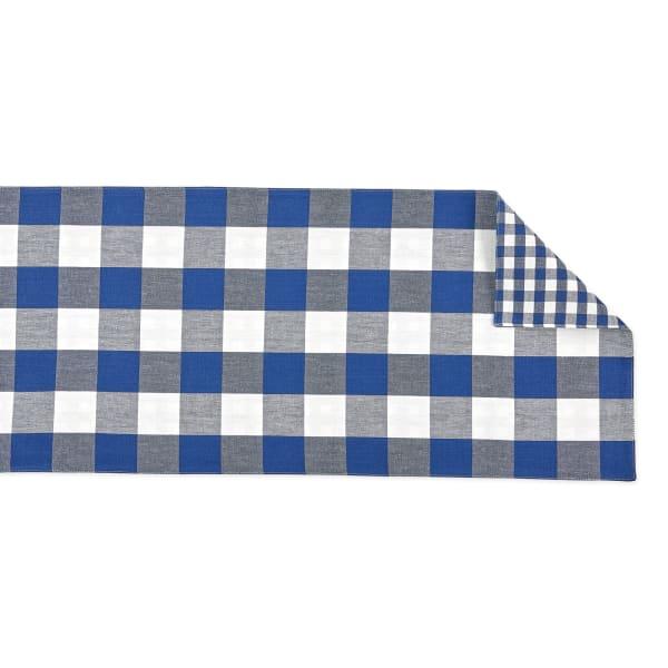 Navy/Off White Reversible Gingham/Buffalo Check Table Runner 14x72