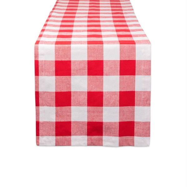 Red and White Buffalo Check 14x108 Table Set