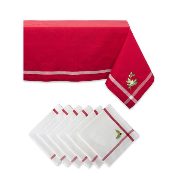Red Embroidered Corner With Border Tablecloth Set