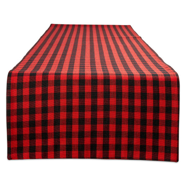 Red/Black Reversible Gingham/Buffalo Check Table Runner 14x108