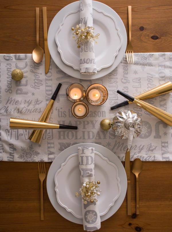 Silver Christmas Collage Table Set