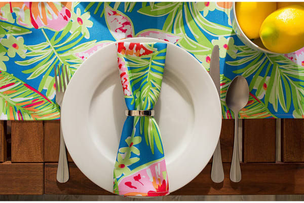 Summer Floral Outdoor Table Runner 14x72