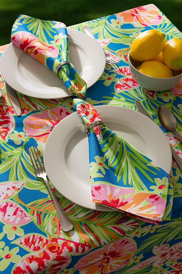 Summer Floral Outdoor Tablecloth With Zipper 60 Round