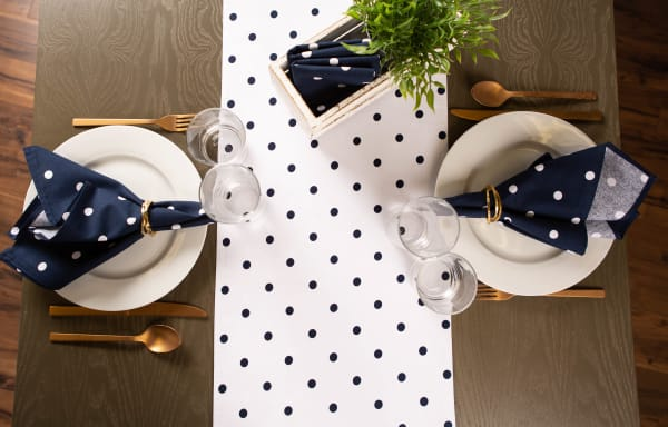 White/Navy Reversible Polka Dot Table Runner 14x72