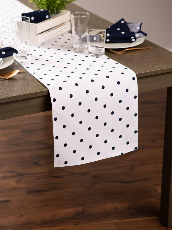 White/Navy Reversible Polka Dot Table Runner 14x90