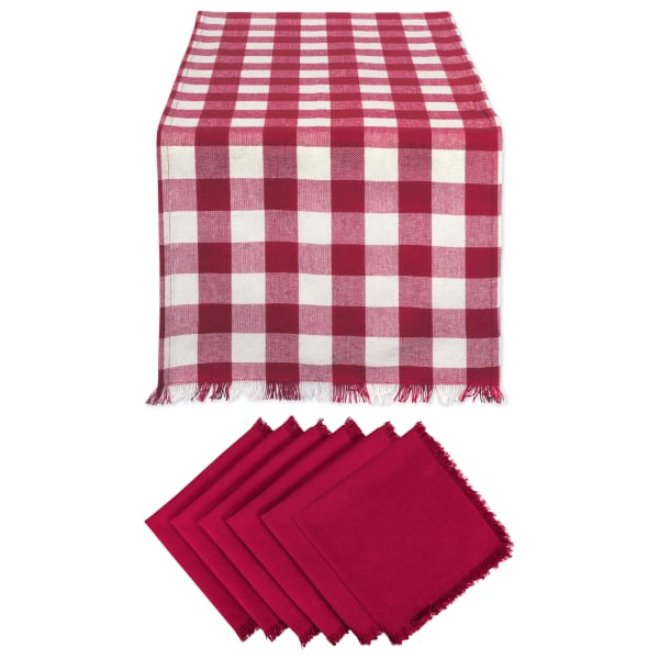 Wine and White Check Table Linen Set