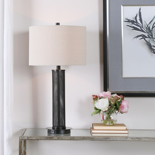 Mesh Detail Lamp with Beige Linen Shade