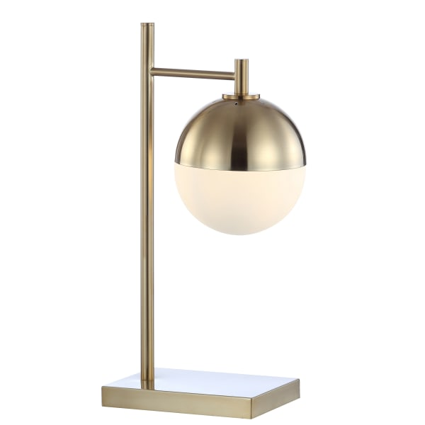 Iron/Glass Art Deco Mid-Century Globe LED Table Lamp, Brass Gold