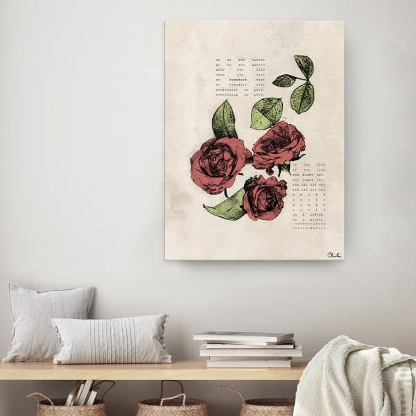 Poetic Flora III Beige Canvas Floral Wall Art
