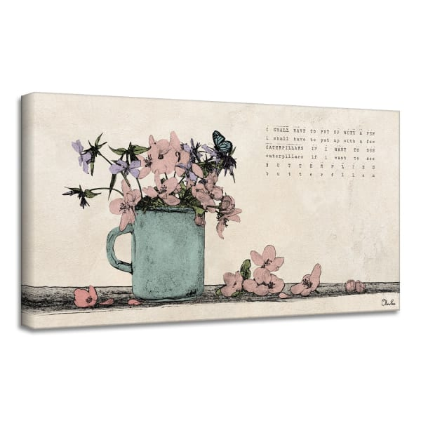 Poetic Flora XII Beige Canvas Floral Wall Art