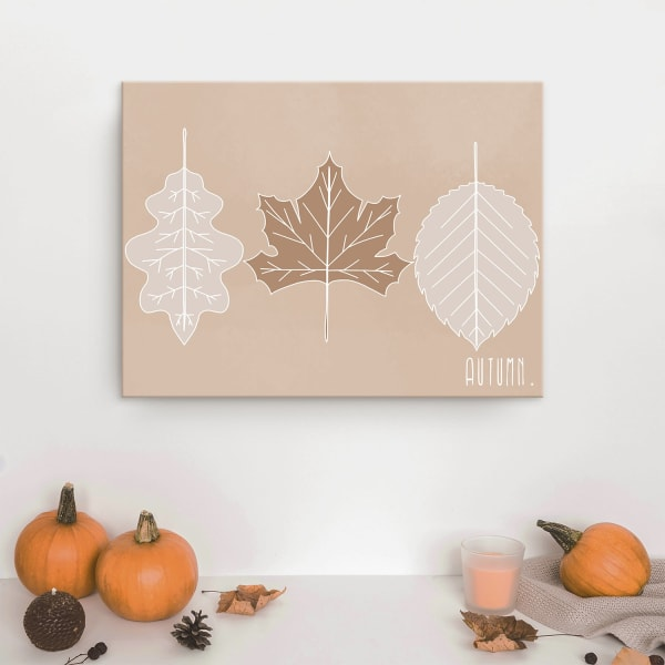 Minimal Leaves Fall Harvest Tan Canvas Wall Art