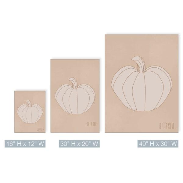 Minimal Pumpkin II Fall Harvest Beige Canvas Wall Art