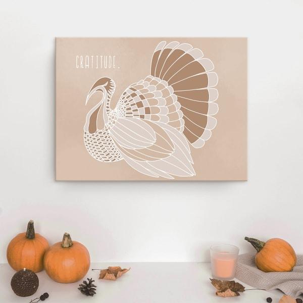 Minimal Turkey II Fall Havest Beige Canvas Wall Art
