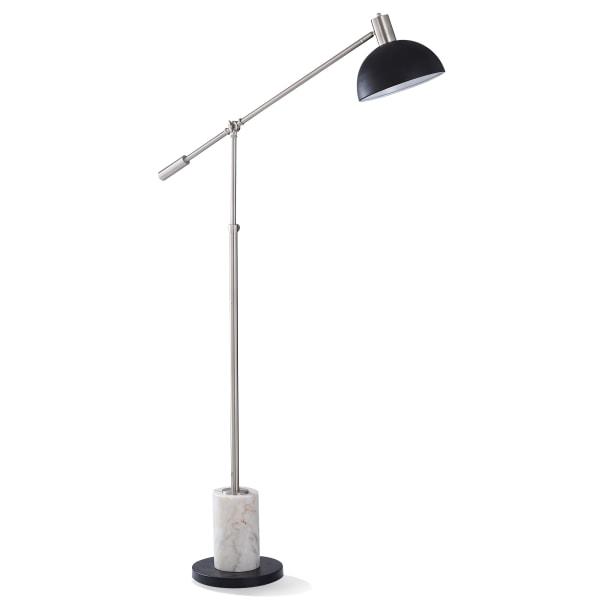 Evesham Natural Marble and Brushed Nickel Floor Lamp
