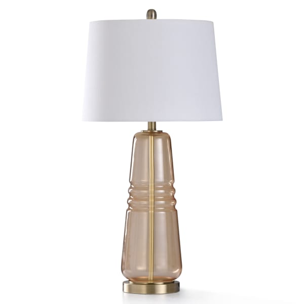 Amber Seeded Glass With Brushed Brass Metal Table Lamp